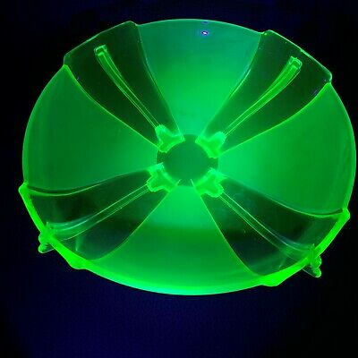 1930's Art Deco SOWERBY Part Frosted Green Uranium Vaseline Art Glass Bowl Dish