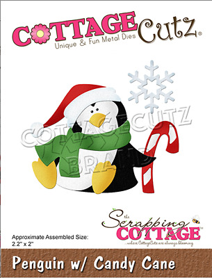 CottageCutz Penguin w/ Candy Cane Metal Cutting Plate Die CC-688 Christmas 2019