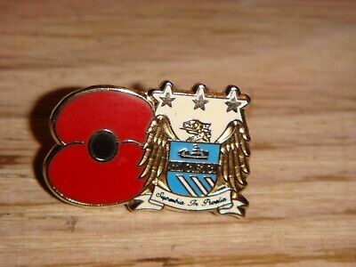 MANCHESTER CITY FC Club Crest & Poppy Pin Badge Style 1 - NEW - MCFC - Football