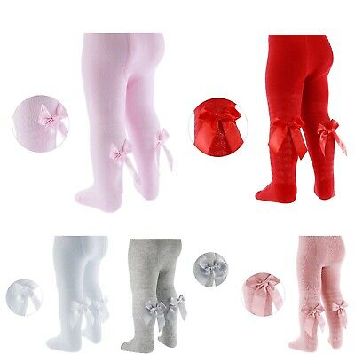 Baby Girls COTTON RICH Heart Tights With Ribbon Bow NB/24 Months