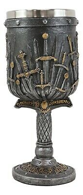 Medieval Iron Throne Of Valyrian Steel Swords Armory Wine Goblet Chalice 10oz