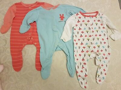 Mothercare Baby Girls Babygrow Sleepsuits Pyjamas Bundle x 3 Age 0-3 Months