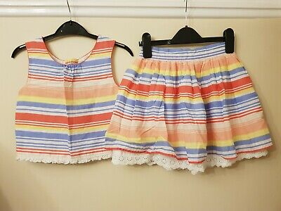 Next Girls Candy Striped Crop Top And Skirt Matching Set Age 7-8 Years