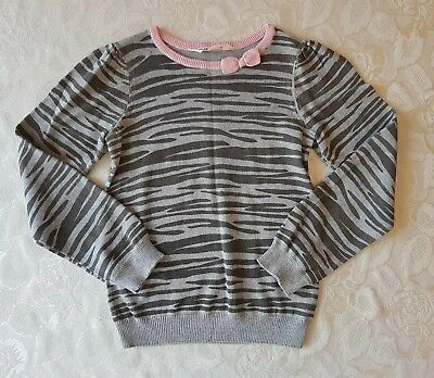 H&M Girls Jumper Sweater Grey And Pink Zebra Pattern And Bow Detail Age 7-8 Yrs
