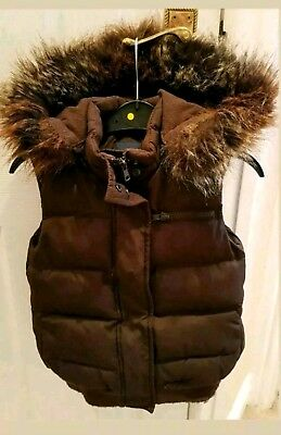 Bodywarmer Gilet From GAP Brown Padded Quilted Faux Fur & Detachable Hood 3 Yrs