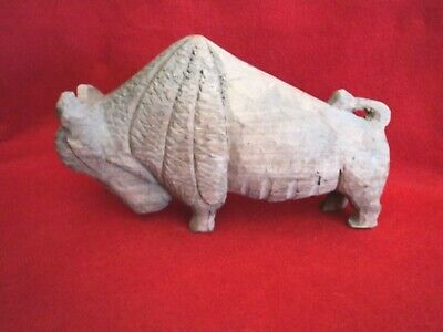 Large Vintage Hand Carved Wooden Buffalo
