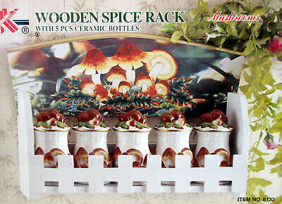 3New Mushroom Wooden Spice Rack with 5 Jars For Spices 3-D Mushrooms MFR # 6132