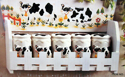 New Cow Wooden Spice Rack with 5 Jars For Spices 3-D Cows Sunflowers MFR # 3132