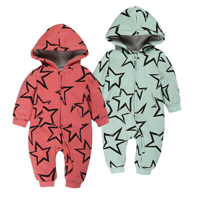 Newborn Infant Boy Girl Warm Romper Hooded Baby Jumpsuit Bodysuit Outfit Clothes
