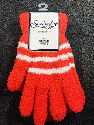 Snugadoo Too Super Soft Fuzzy Gloves One Size Red With White Stripes
