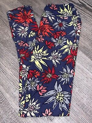 LuLaRoe kids L/XL Red Flowers Yellow Purple New leggings 8-12 NWT Large Xlarge