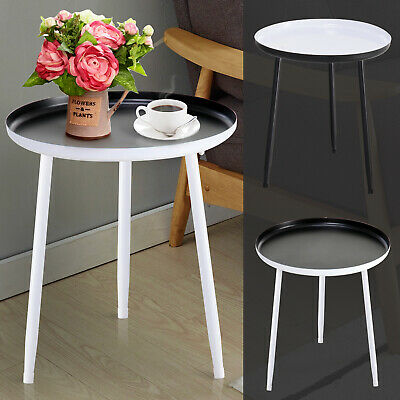 Coffee Furnishing Side Table Retro Shallow Round Saucer Steel Tripod Base Home
