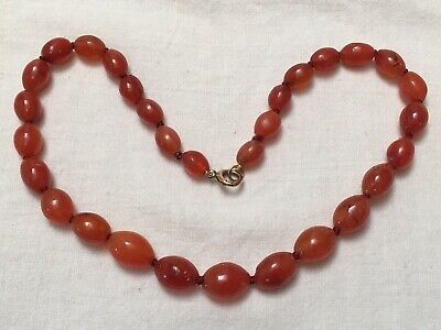 Victorian orange amber carnelian agate necklace gold clasp oval beads necklace