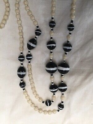 Antique Art Deco 1920s faux banded agate & white glass bead Necklace very long