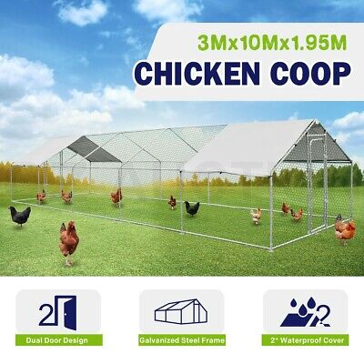 Extra Large Chicken Coop Cage Metal Guinea Pig Run House Rabbit Hutch 3x10x1.95m