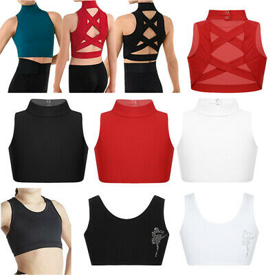 Kids Girls Sleeveless Crop Tops Cotton Turtleneck Gym Dance Sports Tank Vest Top