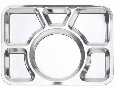 Stainless Steel Round 4 Compartment 35cm Indian Thali Plate Camping Cnrt