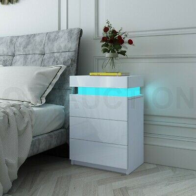 RGB LED Bedside Table 3 Drawers Nightstand Cabinet Gloss Bedroom Furniture White
