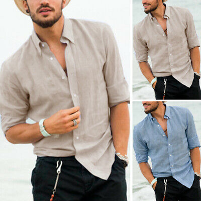 Men's Solid Casual Linen Cotton Breathable Collared Shirt Long Sleeve T Shirt UK