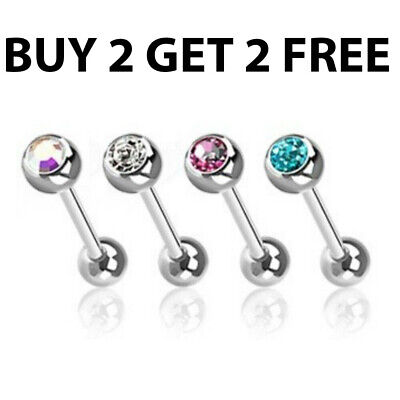 Gem Ball Tongue Bars Nipple Bar Straight Barbells Body Piercing Surgical Steel