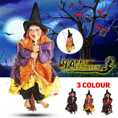 20CM Halloween Hanging Animated Talking Witch Props Flying Witches Party Decor
