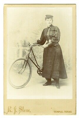 Texas Woman with Bicycle Cabinet Card