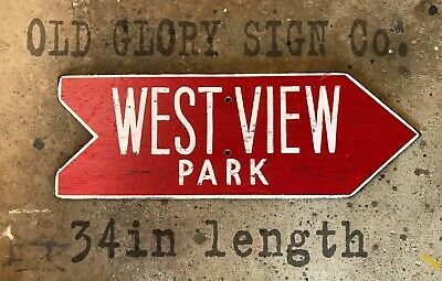 WEST VIEW PARK wood arrow sign Pittsburgh amusement ROLLER COASTER kennywood