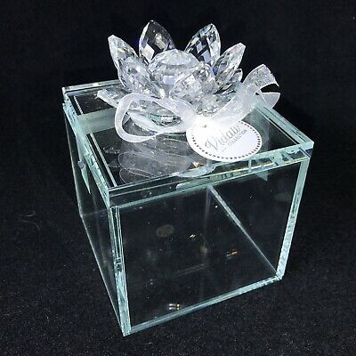 VIDALI COLLECTION Premium Crystal Lotus Flower Trinket Candy Cotton Square Jar