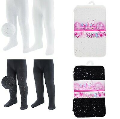BABY GIRLS PARTY PACK OF TWO BLACK/WHITE SLIVER FASHION TIGHTS NB/24 Months
