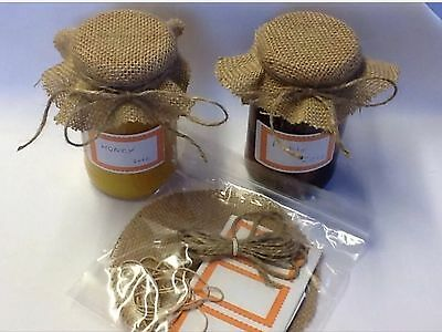 JAM covers X 12 Hessian includes sticky jar labels  bands & TWINE size large14cm