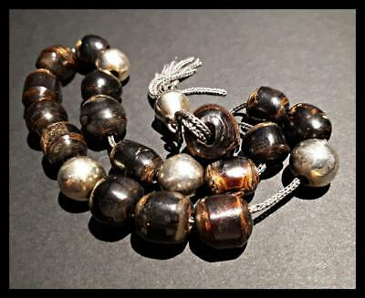 ANTIQUE VERY OLD ISLAM  BLACK CORAL  YUSR  16 WORRY  BEADS 4 SILVER   24 grams