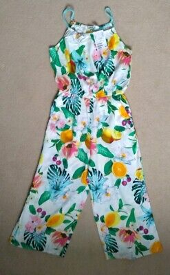 girls H+M sleeveless floral print jumpsuit trouser suit age 9-10 years BNWT