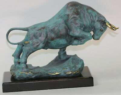 Green Patina Charging Bull 100% Solid Bronze Museum Quality Sculpture Figurine