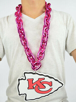 New NFL Kansas City Chiefs PINK Big Chain Necklace Foam Magnet -2 in 1