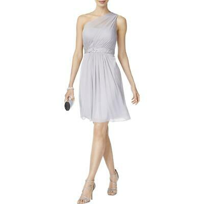 Adrianna Papell Womens Gray One Shoulder Tulle Party Cocktail Dress 10 BHFO 9583