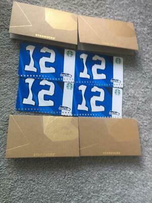 Starbucks Seattle Seahawks 12th Man Flag Cards Set Of 4 0$ Value Unswiped 2019