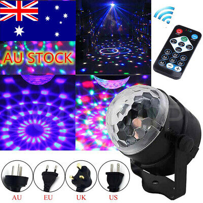 Disco DJ Stage Light Club Party Crystal Ball Effect RGB Rotating LED Lighting