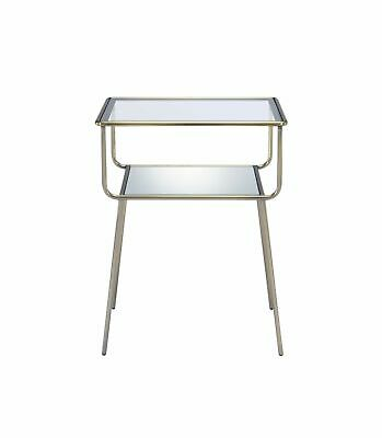 End Table In Antique Brass - Metal,Glass ,Mirror