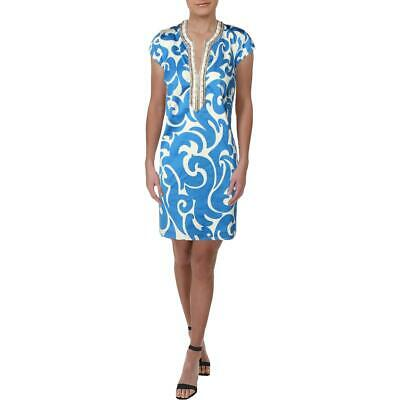 Julie Brown Womens Blue Printed Embellished Party Shift Dress 4 BHFO 2880