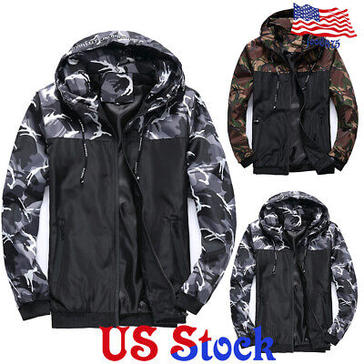 Men Women Unisex Waterproof Hooded Windbreaker Lightweight Zip Up Coat Outwear