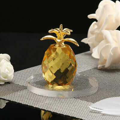 Pineapple Crystal Glass Figure Paperweight Ornament Feng Shui Decor Collection