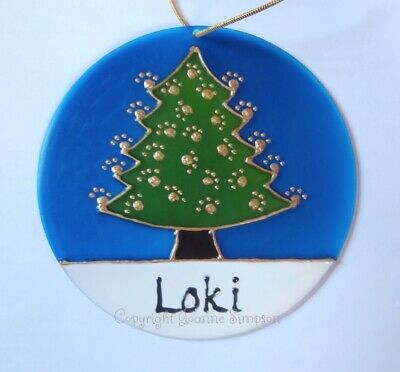 Pet Christmas tree sun catcher. Hand painted and personalised