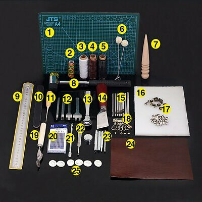 42Pc Retro Leather Craft Tools Kit Stitching Sewing Punch Work Hand Tool Hammer