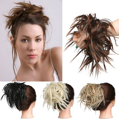 UK Large Thick Messy Bun Hair Piece Scrunchie Clip in Hair Extensions as human