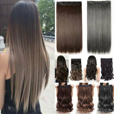UK Real Long Clip in Hair Extensions One Piece Half Full Head Straight Curly Mix