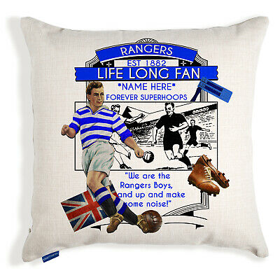 Vintage Football Cushion Cover Fan Pillow Dad Birthday Gift Add Name All Teams