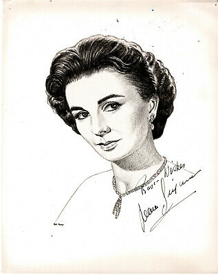British Actress Jean Simmons ,Rare Signed Vintage Studio Photo Art.