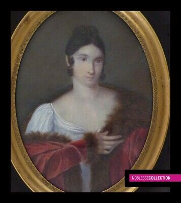 LARGE ANTIQUE 1830s FRENCH MINIATURE PAINTING ON CARD WATERCOLOR 4.45 x 3.19 in.