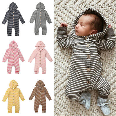 Newborn Baby Boy Girl Clothes Long Sleeve Romper Jumpsuit One-Pieces Outfits UK