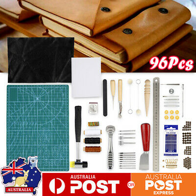 96 Pcs Leather Craft Hand Tools Kit Stitching Sewing Awl Waxed Thimble Kit NEW